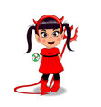baby girl in red devil imp costume holding vector image vector image