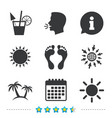 beach holidays icons cocktail human footprints vector image