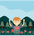 boy in the forest cartoon vector image vector image