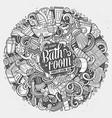 cartoon cute doodles bathroom vector image vector image