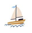 childish boat with sails and flag floating in sea vector image