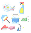 cleaning set icons in cartoon style big vector image