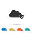 cloud and shield with check mark icon on white vector image vector image