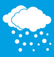 cloud and snow icon white vector image vector image