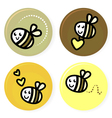 cute doodle bee collection vector image vector image
