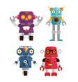 cute retro robot set 1 vector image vector image