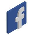 facebook logo isometric icon vector image vector image
