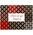 Fleur-de-lys royal seamless patterns vector image vector image