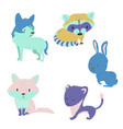 forest animals bright set vector image vector image