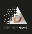 golden letter d logo in silver pixel triangle vector image vector image