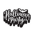 halloween party poster hand drawn lettering vector image