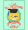 happy graduation mint green girl greeting card vector image