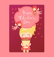 happy valentine day card cute girl with flowers vector image vector image