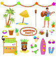 hawaii party woman or man characterr on vector image