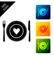 heart on plate fork and knife icon isolated on vector image vector image