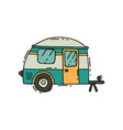 icon of camping trailer in doodle style vector image