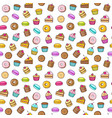 kawaii seamless backgroundon a white background of vector image vector image
