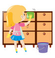 little girl cleaning drawers vector image vector image