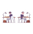 male teacher sitting and working at the desk vector image vector image