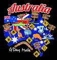 map of australia with nation flag and icons vector image vector image