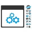 Mechanics Gears Calendar Page Icon With vector image