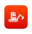 mini excavator icon digital red vector image vector image