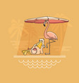 pelican and flamingo relaxing by the pool vector image