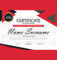 red elegance horizontal certificate template vector image vector image