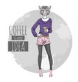 retro hipster fashion animal tiger with coffee vector image
