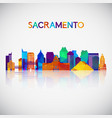 sacramento skyline silhouette in colorful vector image vector image