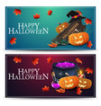 set halloween greeting horizontal postcard with vector image