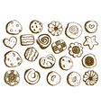 Set hand drawn cookies on white background vector image