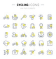 set line icons cycling vector image