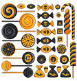 set of sweets candies and lollipops for halloween vector image