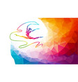 silhouette spectrum color gymnastic girl with vector image vector image