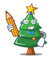 student christmas tree character cartoon vector image vector image