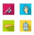 syringe with insulin pancreas glucometer hand vector image vector image