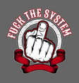 system off hand finger sign hand vector image