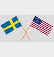 the sweden and united states flags are cross vector image vector image