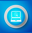 website on laptop screen icon globe and cursor vector image