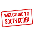 welcome to South Korea red grunge square stamp vector image vector image
