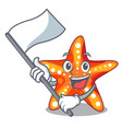 with flag underwater sea in the starfish mascot vector image vector image