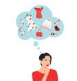 woman choose clothes vector image vector image