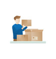 young man open the package vector image