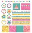 Set of birthday design elements vector image