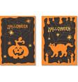 a set of postcards halloween vector image