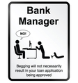 Bank Manager Information Sign vector image vector image
