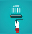 barcode painting concept in flat style vector image vector image