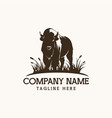 bison logo farm design vector image