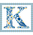 Blue letter K vector image vector image